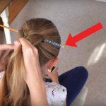 Ela colocou um pauzinho chinês no cabelo e começou a fazer uma trança… Quanto tirou o pauzinho… UAU! Que penteado fantástico!